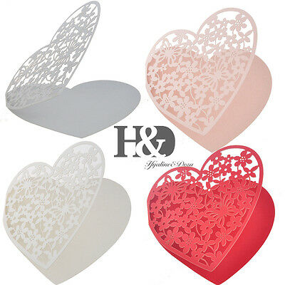 Handmade Personalised Wedding Party Heart-shaped Ornamental Engraving Gift Cards