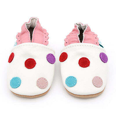 Dotty Fish Soft Leather Baby & Toddler Shoes - White Spotty - 0-6Month - 3-4Year