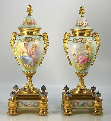 Pair of Gilt Bronze Champleve Enamel Sevres Style Urns