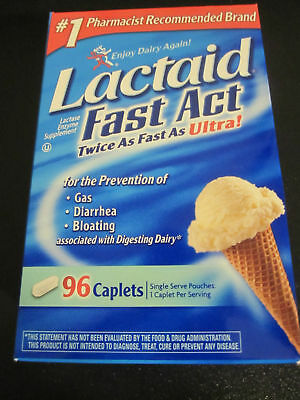 Lactaid Fast Act twice as fast as ultra 96 Caplets