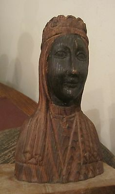 antique hand carved wood Religious The Virgin Mary sculpture figure