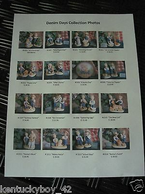 Home Interiors Homco Denim Days Figurine Reference List Complete w/Pictures