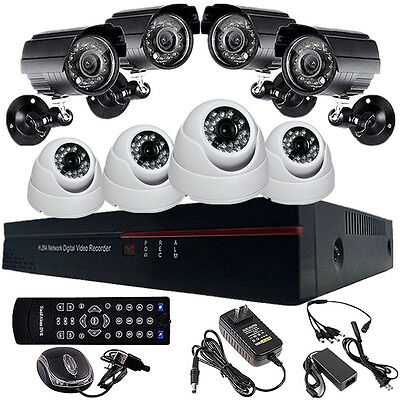 8CH Channel DVR Video Home Indoor Outdoor Waterproof Security CCTV Camera System