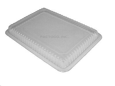 """Clear Plastic Dome Lid for 8"""" x 6"""" Oblong Foil Take-Out Pan 50/PK - REF# P250-50"""
