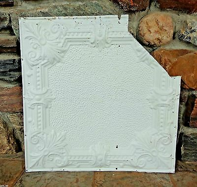 "1900's Antique Partial Tin Ceiling Tile 24"" x 24"" Painted Antique White #CT2"