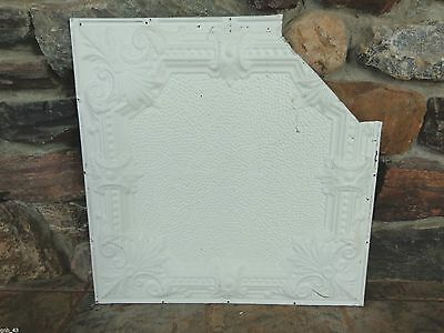 "1900's Antique Partial Tin Ceiling Tile 24"" x 24"" Painted Antique White #CT3"