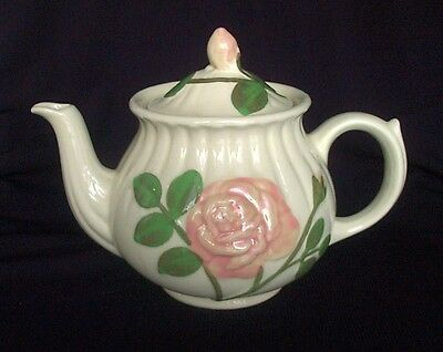 SHAWNEE POTTERY EMBOSSED ROSE TEAPOT