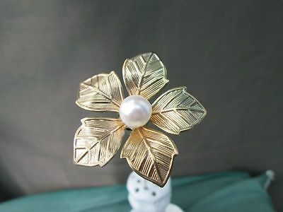 HAT PIN Antique Style. Large Pearl + Metal Engraved Flower Petals.
