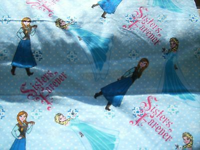 Fabric 1/2 yard flannel Disney Frozen Elsa Anna Sisters Forever