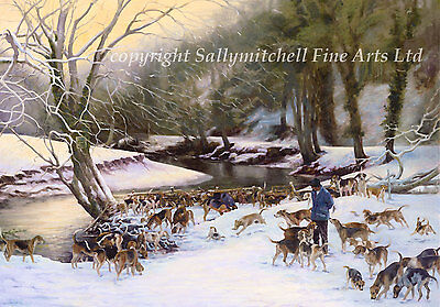 Foxhound dog, hunting Christmas cards pack of 10. C464x Winter Time