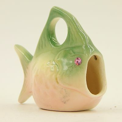 Fish Toothpick Match Holder Pink Rhinestone Eyes Porcelain Dale WY Wyoming