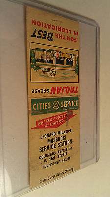 Vintage Matchbook Trojan Grease Massucci Service Station Leonard Milano's Cities