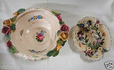 Pair of Vintage Hand-Painted Porcelain Bowls w/ Rose Designs (Made in Italy)