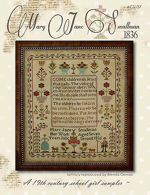 """""""Mary Jane Smallman, 1836"""" Pattern by COUNTRY STITCHES-WITH THY NEEDLE Sampler"""