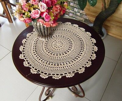 Lovely Hand Floral Crochet Cotton Round Beige Doily Table Topper 45CM