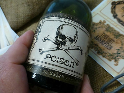 48 Poison, Magic Potion, & blank rustic style labels - cut out DIY decorate jars