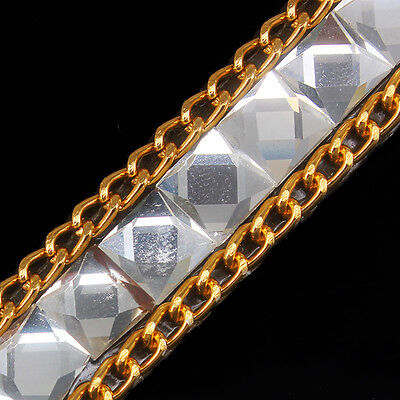 5y Rhinestones Crystal Gold Chain Iron on Hotfix Crystal Trim Patches  T395