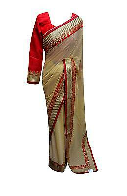 INDIAN contrast border sarees Bollywood Party wear WEDDING sari London 7104 UK