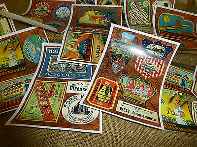 40 Repro vintage LUGGAGE LABELS - DIY decorate your old suitcase decopage craft