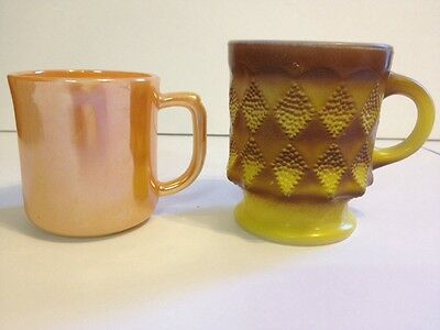 Lot Of 2 Vintage Fire King Anchor Hocking Mugs Peach Lustre And Yellow Diamond