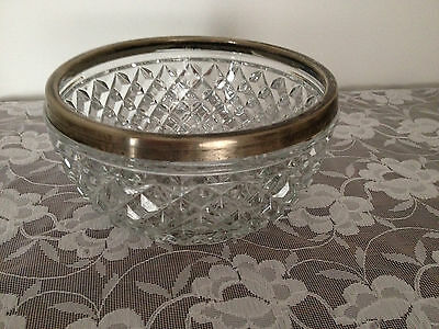 """Vintage Clear Glass Diamond Pattern Silver Plated Rim 8""""  Bowl Made In England"""