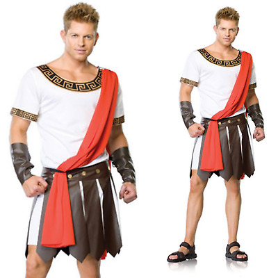 Mens CAESAR COSTUME Roman Fancy Dress Toga Emperor Greek Ancient Tunic Outfit