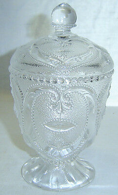 Antique Old EAPG Dugan Jeweled Heart Clear Glass Footed Sugar Bowl w/ Lid