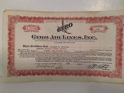 Gyro Airlines 1934 Vintage Stock Certificate