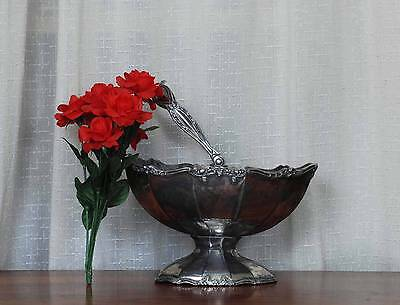 F B Rogers Silver c1890 Quadruple Plate Footed Basket Embossed Victorian Large