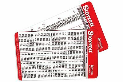 Set of 2 Starrett Machinist Card with Decimal Equivalents and Metric Conversions