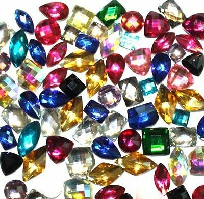 60 pc Facets Resin Rhinestone Flat Back Mix Shape and Color 6mm-8mm