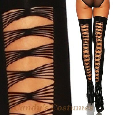 BLACK Opaque THIGH-HIGH Stay-Ups STOCKINGS Strappy LADDER Back-Seam RIPPED Goth