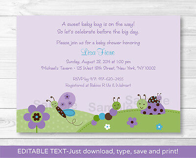 Baby Bugs Ladybug Butterfly Purple Printable Baby Shower Invitation Editable PDF