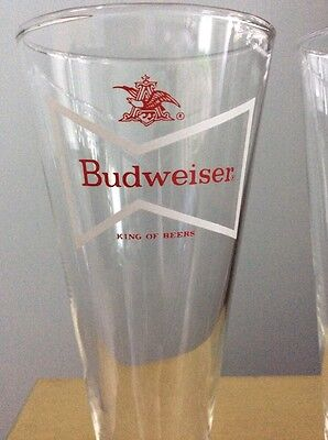 "Vintage Budweiser 8-1/2"" Tall Stem BOWTIE Logo Pilsner Beer Glass~Set of 2"