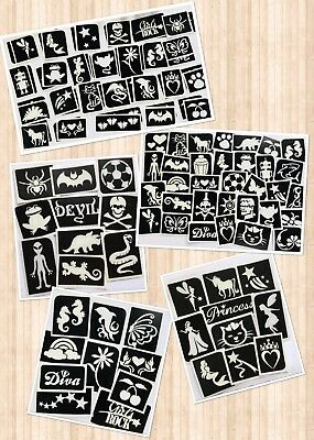 GLITTER TATTOO MIXED STENCIL PACKS BOYS & GIRLS SETS - reusable stencils
