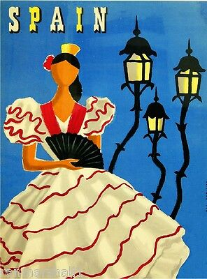 Spain Spanish Dancer Senorita Vintage European Travel Advertisement Poster