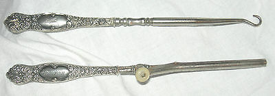 """Sterling Silver Curling Iron & Button Hook Set 6.5"""" Long Each Signed Vintage M"""
