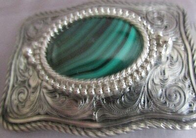 Vintage Silver Tone Green Designed Oval Stone Etched  Belt Buckle