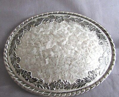 "Vintage Oval Silver Plated Floral Edge Signed ""W"" Belt Buckle 2 1/2 X 3 1/2 Usa"