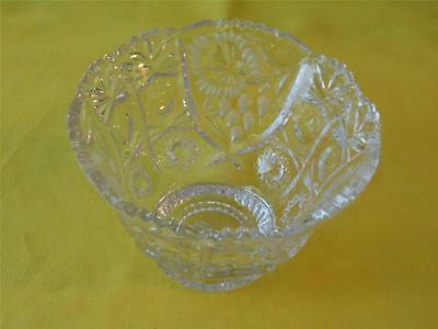 Glass Bowl Sawtooth and Scalloped Top Short Pedestal Thumbprint