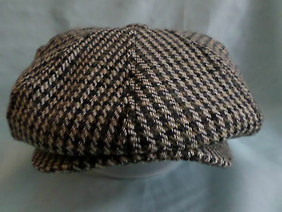 Mens Wool Country Tweed 8-Panel Baker Boy Cap Newsboy Aka Paperboy Cabby Hat