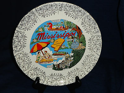 """MISSISSIPPI The Magnolia State 9"""" vintage collector's plate"""