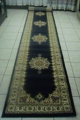 New Extra Long Navy Persian Design Heatset Floor Hallway Runner 80X500Cm