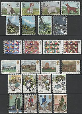 GB 1979 complete commemorative sets of stamps unmounted mint 8 sets