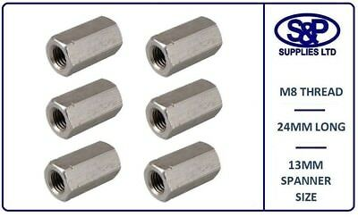 8MM (M8 8mm) STAINLESS STEEL STUDDING CONNECTOR DEEP NUT 24MM LONG 13MM SPANNER