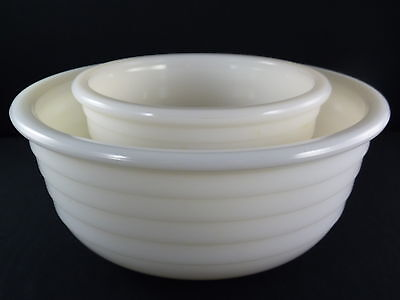 Milk Glass White Ribbed Vintage Mixing Bowls Set of 2