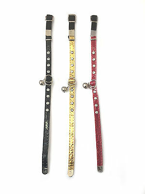 Faux Leather Adjustable Diamante Crystal Bling Cat Kitten Safety Collar & Bell