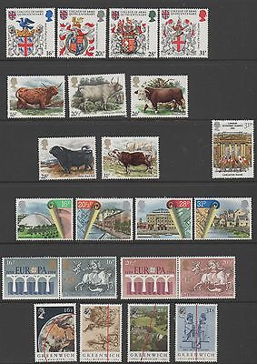 GB 1984 complete commemorative sets of stamps unmounted mint 9 sets