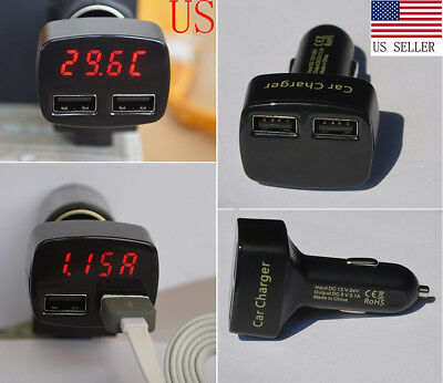 3.1 AMP DUAL USB 2 PORT IN CAR CHARGER Voltage Current Meter Tester Car Charger