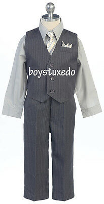 Boy's Grey Gray 4 Piece PinStripe Suit Formal Vest  Silver Dress Shirt All Sizes